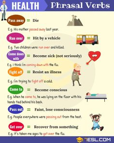 List of useful health phrasal verbs in English with their meaning and examples. Learn these common phrasal verbs for health, fitness, sickness and death with ESL picture to increase your English vocabulary. English Verbs, Learn English Grammar, English Phrases, Learn English Words, English Writing, English Lessons, English Vocabulary, Teaching English, English Tips