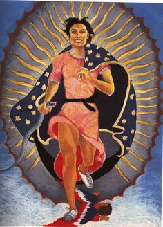 Portrait of the Artist as the Virgin of Guadalupe by Yolanda Lopez. The sun is below, which really should be within. But the sun represents the stone, thus White Buffalo Calf Woman is born.