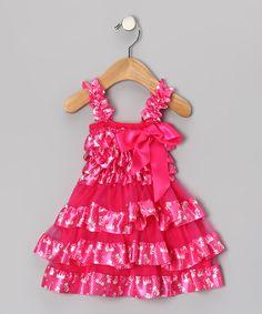 Hot Pink Bow Ruffle Dress - Infant, Toddler & Girls