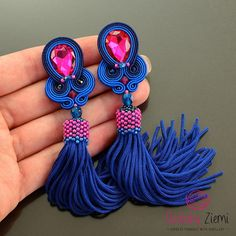 Pink tassel earrings blue tassel earrings soutache earrings Blue Tassel Earrings, Soutache Earrings, Boho Earrings, Handmade Necklaces, Handmade Jewelry, Antique Jewellery Designs, Birthday Gifts For Her, Fabric Jewelry, Beaded Embroidery