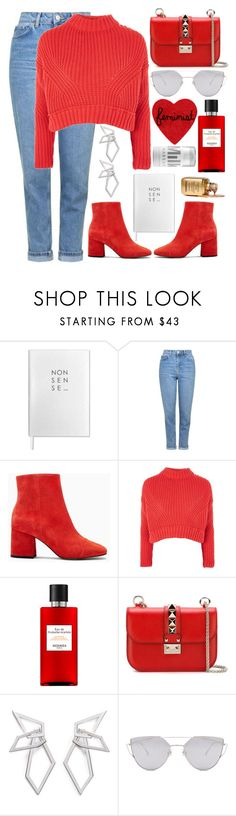 """""""♥️"""" by fashioneex ❤ liked on Polyvore featuring Sloane Stationery, Topshop, Hermès, Valentino, W. Britt, Gentle Monster and MILK MAKEUP"""