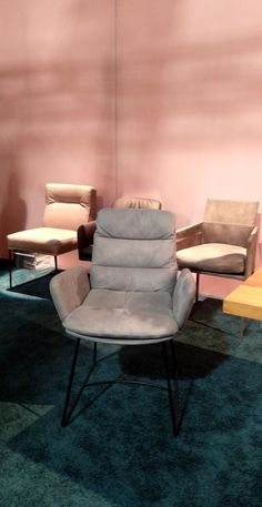 A chair design choosing pastel colors and elegant leather by KFF displayed at #SalonedelMobile2018.