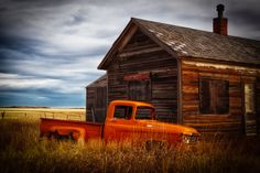 Old Barn with Sunset   old pickup left behind taken in montana sunrise on a foggy morning in ...