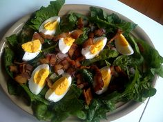 Really Great Salad = Eggs + Bacon + Red Onion + Spinach