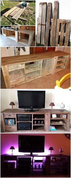 diy pallets wood media cabinet