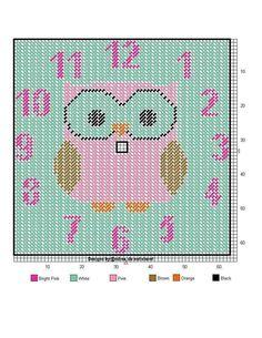 Owl Patterns, Beading Patterns, Embroidery Patterns, Cross Stitch Patterns, Plastic Canvas Christmas, Plastic Canvas Crafts, Plastic Canvas Patterns, Owl Clock, Owl Ornament