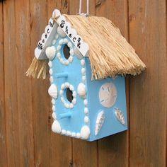 Beach Decor Birdhouse Seashell Embellished by JustForTheShellOfIt, $32.00