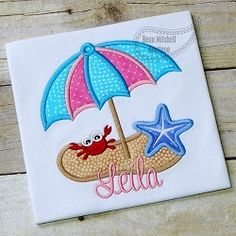 Beach Umbrella Applique - 3 Sizes!   What's New   Machine Embroidery Designs   SWAKembroidery.com Beau Mitchell Boutique