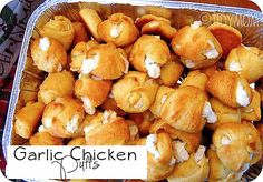 Garlic Chicken Puffs with 4 ingredients. Cresent roll dough, cooked chicken, garlic powder, and cream cheese.15 minutes to assemble, 15 minutes to cook & cool. Great appetizer.