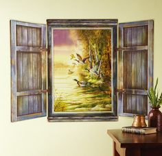 Collections: $7.97 on sale Northwoods Scene Cabin Window Wall Decal Set