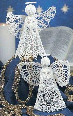 Adornos de Navidad: Ángeles de ganchillo - Pareja de ángeles de ganchillo para Navidad