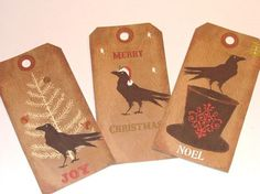 primitive christmas gifts | Gift Tags Christmas Primitive Raven Set of 6 by SiriusFun on Etsy, $5 ...