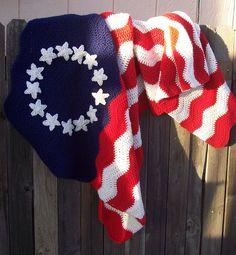 American Flag Afghan Crochet Ripple Blanket