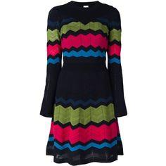 M Missoni zig zag knit dress (33.050 RUB) ❤ liked on Polyvore featuring dresses, black, zig zag dress, knit dress, m missoni, m missoni dress and zigzag dress