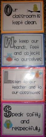 I think this is a cute way to display classroom rules. There are only a few of them which makes it easy for the students to remember. If you come up with rules as a class this would also be a cute way to simplify them while keeping them manageable. Owl Classroom Decor, Classroom Behavior, Kindergarten Classroom, Future Classroom, Classroom Themes, Classroom Organization, Classroom Management, Classroom Posters, Owl Preschool