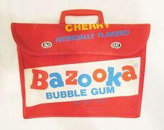 TOPPS BAZOOKA CHERRY FLAVORED BUBBLE GUM LOGO BOOK BAG SCHOOL BAG 1981 PREMIUM