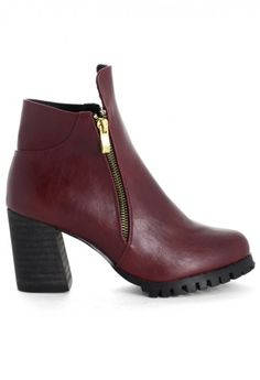 Zipper Chunky Heel Ankle Boots in Wine