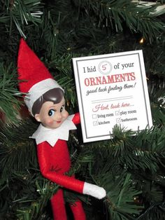 Elf on the Shelf - Holly's Elf Adventures...love this ornament scavenger hunt...