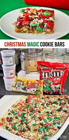 I love magic cookie bars, and they are even more fun with the colorful holiday M&Ms!  Great last minute Christmas treat! (Favorite Desserts Mom)