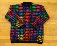 80s neon rainbow sweater 1980 new wave by CarnivalOfTheManiac
