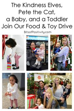 A family food and toy drive with ideas for including the Kindness Elves, Pete the Cat, and younger siblings - Bits of Positivity Christmas Activities For Kids, Kids Christmas, Parenting Quotes, Parenting Hacks, Kindness Elves, Kindness Projects, Pete The Cats, Character Education, Raising Kids