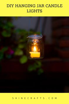 Hanging Jar Candle Lights is a great DIY Outdoor lighting idea for your garden or patio. This Garden Lantern Chandelier will make your place warm and cozy. Outdoor Chandelier, Diy Chandelier, Outdoor Lighting, Lighting Ideas, Hanging Jars, Diy Hanging, Crafts For Girls, Crafts To Make, Teen Crafts