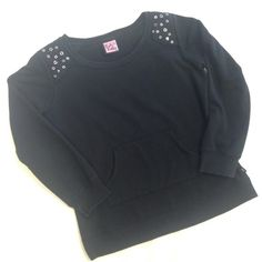 """Black Studded Crewneck Sweatshirt Great used condition.  Front kangaroo pocket, grommet studded shoulders (slightly padded for protection from the grommets).  Approx measurements laying flat:  chest 21"""", length 24"""", sleeve length 22"""".  Tag says large but I believe it would fit a medium better. Tops Sweatshirts & Hoodies"""