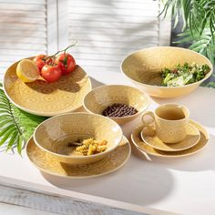Šálka s podšálkou Yellow Amber - Dekoria Serving Bowls, Tableware, Kitchen, Amber, Dinnerware, Cooking, Tablewares, Kitchens, Dishes