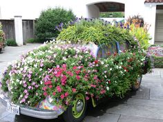 Love the VW covered in flowers