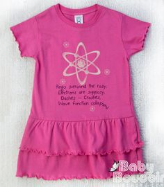 GEEKY GIRLS DRESS Funny Quantum Physics Toddler Ruffled Dress in Raspberry Ringspun Cotton - Lets All Fall Down With the Wave Function