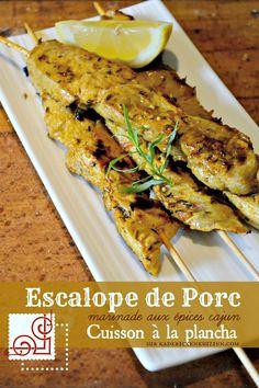 Escalope porc - Cuisson plancha brochette d'escalope porc aux épices cajun sur kaderickenkuizinn.com