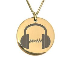 Sound Bar DJ headphone Stainless Steel or 18 K Gold Plated Laser Engraved Round Pendant Necklace for men - women - Soundman Gift Clock Necklace, Men Necklace, Gold Necklace, Pendant Necklace, Prague Astronomical Clock, Dj Headphones, Round Pendant, Laser Engraving, Gifts For Women