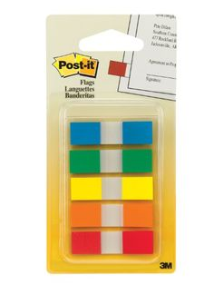 Post-it Flags with On-the-Go Dispenser, Assorted Primary Colors, 1/2-Inch Wide, 130/Dispenser, 1-Dispenser/Pack 3M http://www.amazon.com/dp/B0006ZERXA/ref=cm_sw_r_pi_dp_0h5xub0862JYM