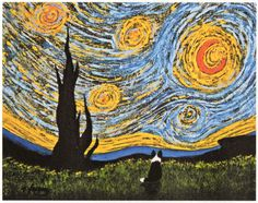Bajo un cielo de Van Gogh  Esto es una edición limitada reproducción de una pintura original por mi, Todd Young. Habrá sólo 150 estampas de reproducción de esta pintura. Noche estrellada de van Gogh fue la inspiración para este arte.  Imprimir mis copias de reproducción utilizando papel acuarela sin ácido 90 lb que mide 8 1/2 x 11. La tinta tiene una vida de 100 años en condiciones normales (según el fabricante).  Tamaño de la imagen es de 5 7/8 x 7 1/2. Cada impresión es firmada, numerada y…