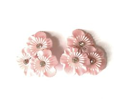 Large Pink and White Plastic Flower Clip Earrings Clear Sparkling Rhinestone Detail Big Huge Statement Easter Spring Summer Feminine Vintage by VintageByBelle on Etsy https://www.etsy.com/listing/269870893/large-pink-and-white-plastic-flower-clip