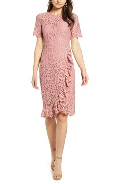 Women's Rachel Parcell Ruffle Front Lace Sheath Dress, Size Small - Pink (Nordstrom Exclusive)