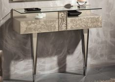 Console. EUPHORIA 21060 Consoles, Entryway Tables, Dining Chairs, Shark, Furniture, Home Decor, Birthday, Glass Tray, Drawer