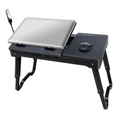 Foldable Laptop Table Tray Desk W/Cooling Fan Tablet Desk Stand Bed Sofa  Couch Couch Notebook E Mouse Adjustable Lightweight And Portable 3 Led Lamp  Brand ...