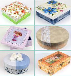 1848a491895af 11 Modelos Diferentes de Caixas Decoradas Passo a Passo. Artesanato Com  CaixoteComo Fazer ...