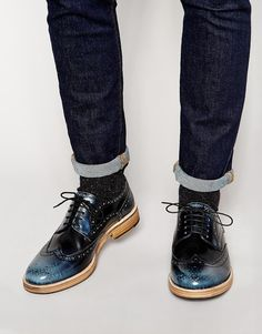 ASOS Brogue Shoes in Leather Blue Brogues, Wingtip Shoes, Boy Fashion, Mens Fashion, Asos Shoes, Doc Martens Oxfords, Boy Outfits, Me Too Shoes, Fashion Online