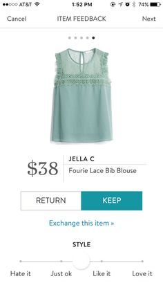 Jella C Fourie Lace bib blouse. beautiful soft sage green sleeveless bib shirt with lace detail on the top & small ruffle detail. As your stylist to send you this for your 2017 Spring or Summer fix. #affiliatelink #stitchfix