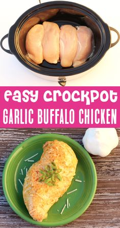 Crockpot Chicken Recipes - Easy Garlic Parmesan Buffalo Chicken! This delicious slow cooker dish is such a fun and tasty dinner… that also happens to be crazy easy to make! Plus, the flavor is outrageous... and will become a fast family favorite! Go grab the recipe and give it a try this week!
