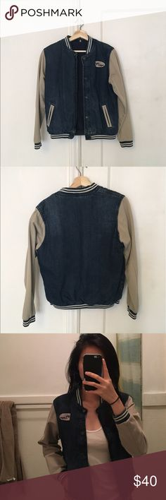 Topshop Jean Varsity Jacket Beautiful jacket! Only worn a few times. Selling because it no longer fits my style. Size US 6 UK 10. Topshop Jackets & Coats Jean Jackets