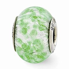 Sterling Silver GreenWhite Italian Murano Bead *** Read more  at the image link.
