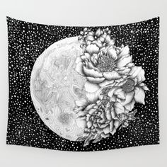 KRWHTS House Decor Tapestry_Floral Classic Style Chrysanthemum Flower Petals Bouquet Romantic Vintage Artwork Dark Coral White_Wall Hanging For Bedroom Living Room Dorm Moon Tapestry, Tapestry Bedroom, Tapestry Wall Hanging, Tapestry Floral, Wall Hangings, Wall Drawing, Vintage Artwork, Wall Art Designs, Flower Petals