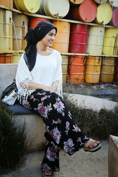 AboutThatWrap: Floral High Waisted Boho Pants + Cream Top