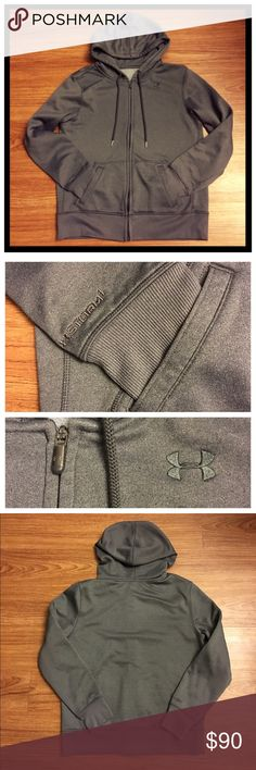 """Men's Under Armour STORM gray hoodie EUC 📦 Same day shipping (excluding Sun/holidays or orders placed after P.O. Closed) ❓Please ask any questions prior to buying. I want you to be 💯% Happy❣  Charcoal gray hoodie from UA is in excellent condition. It features front pockets, a drawstring hood, UA logo on the left  side of the wearer's chest, UA zipper logo and """"STORM"""" on the wearer's right sleeve. Flat measurements: 21.5"""" across chest, 24.5"""" long and 24"""" sleeve length from shoulder seam. No…"""