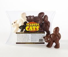 Peanut-free, tree-nut-free, dairy-free, gluten-free and egg-free Scaredy Cats chocolates by Premium Chocolatiers.
