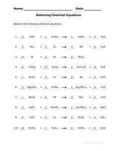 balancing equations worksheet - Elleapp