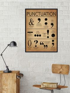 Punctuation Writing and Grammar Art Print. Fine Art Paper, Laminated, or Framed. Multiple Sizes Available for Home or School. Punctuation Posters, Grammar Posters, Writing Posters, Plexiglass, Classroom Walls, Beautiful Posters, Teacher Favorite Things, Typography Art, Fine Art Paper